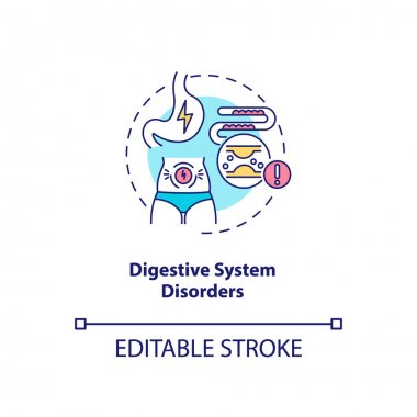 Digestive system disorders concept icon. Antidepressants side effect idea thin line illustration. Abnormal bowel functions. Vector isolated outline RGB color drawing. Editable stroke icon