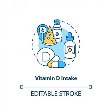 Vitamin D intake concept icon. SAD treatment idea thin line illustration. Regulating immune function. Inhibiting autoimmune diseases. Vector isolated outline RGB color drawing. Editable stroke icon