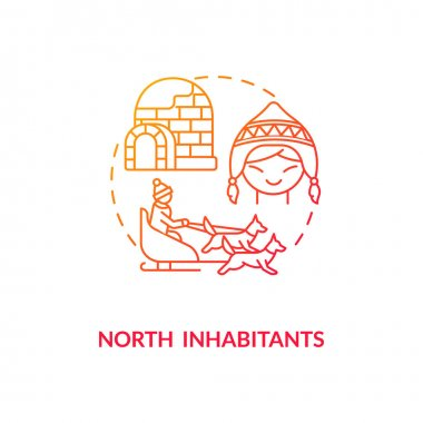 North inhabitants concept icon. SAD risk group idea thin line illustration. Seasonal depression. Igloo, snow hut. Dog sledding. Traditional livelihoods. Vector isolated outline RGB color drawing icon