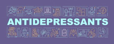 Antidepressants concepts banner. Medicine for people with depression problem. Infographics with linear icons on purple background. Isolated typography. Vector outline RGB color illustration icon