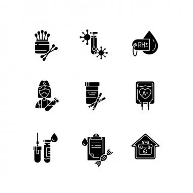 Medical diagnosis black glyph icons set on white space. Clinical examination. Chemical laboratory checkup. Blood test. Polymerase chain reaction check. Silhouette symbols. Vector isolated illustration icon