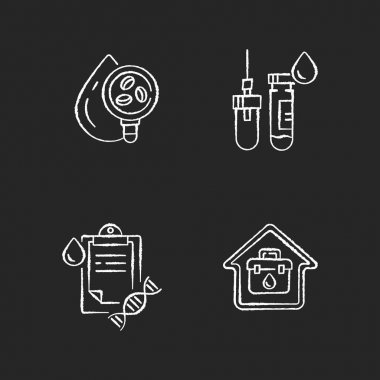 Blood check black glyph icons set on white space. Analyze fluid for illness. Hospital exam. Tube with needle. Home doctor call. Genealogical research. Silhouette symbols. Vector isolated illustration icon