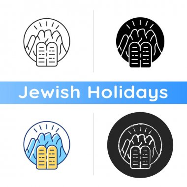 Stone Tablets icon. Receiving Ten Commandments at Mount Sinai. Testimony Tablets. Hebrew Bible. Divine revelation. Prophet Moses. Linear black and RGB color styles. Isolated vector illustrations icon
