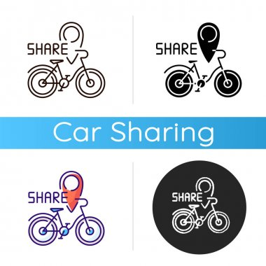 Bicycle sharing system icon. Service in which bicycles are made available for shared use to individuals on short term basis. Linear black and RGB color styles. Isolated vector illustrations icon