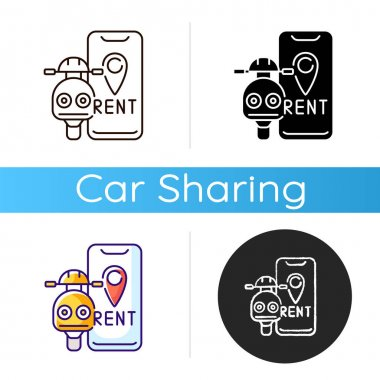 Scooter rental icon. Service in which electric motorized scooters are made available to use for short term rentals. Linear black and RGB color styles. Isolated vector illustrations icon