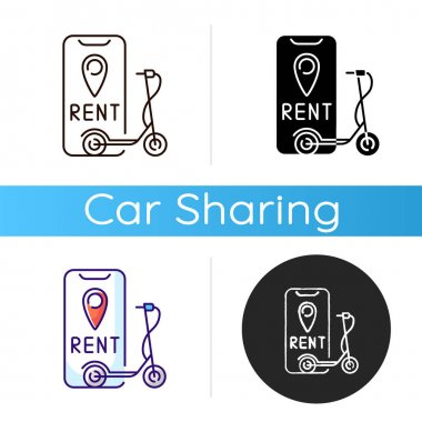 Electric scooter rental icon. Service in which electric motorized scooters are made available to use for short term rentals. Linear black and RGB color styles. Isolated vector illustrations icon