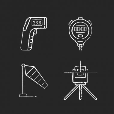 Measuring tools chalk white icons set on black background. Infrared thermometer. Handheld timepiece. Windsock. Laser line level. Wind direction and speed. Isolated vector chalkboard illustrations icon