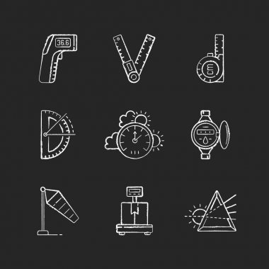 Measuring instruments chalk white icons set on black background. Infrared thermometer. Ruler. Retractable flexible rule. Half circle protractor. Windsock. Isolated vector chalkboard illustrations icon