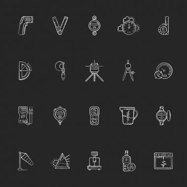 Measurement elements chalk white icons set on black background. Measuring physical quantity. Infrared thermometer. Ruler, angle finder. Dynamometer. Isolated vector chalkboard illustrations icon