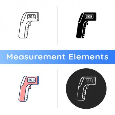Infrared thermometer icon. Measuring temperature from distance. Non-contact thermometer. Providing safe, accurate testing. Linear black and RGB color styles. Isolated vector illustrations icon