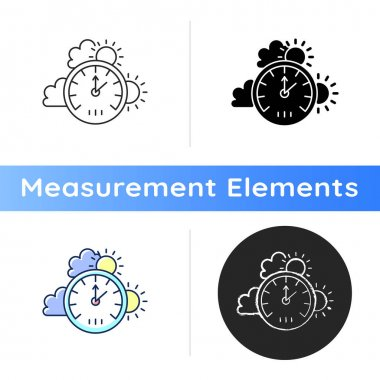 Barometer icon. Measuring air pressure in certain environment. Meteorological instrument. Atmospheric pressure and altitude. Linear black and RGB color styles. Isolated vector illustrations icon