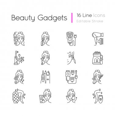 Beauty gadgets linear icons set. Hair tong. Electric shaver. Manicure and pedicure. Makeup sponge. Customizable thin line contour symbols. Isolated vector outline illustrations. Editable stroke icon