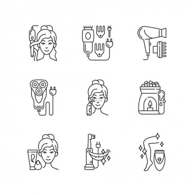 Skincare routine linear icons set. Hairstyling appliance. Electric hair clippers. Shaver. Makeup sponge. Customizable thin line contour symbols. Isolated vector outline illustrations. Editable stroke icon