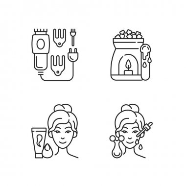Beauty care appliances linear icons set. Electric hair clippers. Wax warmer. Makeup sponge. Hair trimmer. Customizable thin line contour symbols. Isolated vector outline illustrations. Editable stroke icon