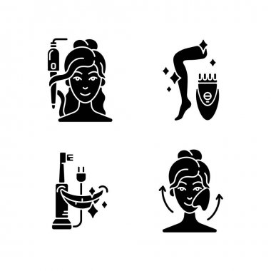Skin-care tools black glyph icons set on white space. Curling iron. Epilator. Electric toothbrush. Gua sha stone. Hair tong. Removing unwanted hair. Silhouette symbols. Vector isolated illustration icon