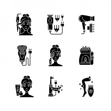 Skincare routine black glyph icons set on white space. Hairstyling appliance. Electric hair clippers. Blackhead remover. Shaver. Makeup sponge. Silhouette symbols. Vector isolated illustration icon