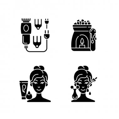 Beauty care appliances black glyph icons set on white space. Electric hair clippers. Wax warmer. Makeup sponge. Microcurrent massager. Hair trimmer. Silhouette symbols. Vector isolated illustration icon