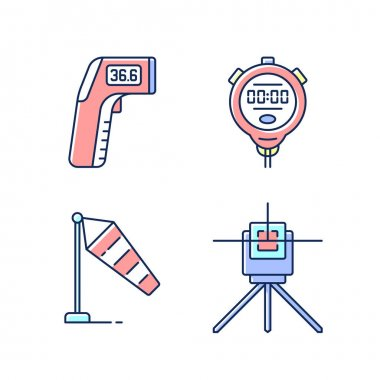 Measuring tools RGB color icons set. Infrared thermometer. Handheld timepiece. Windsock. Laser line level. Wind direction and speed. Measuring temperature from distance. Isolated vector illustrations icon