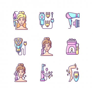 Skincare routine RGB color icons set. Hairstyling appliance. Electric hair clippers. Blackhead remover. Electric shaver. Makeup sponge. Hair dryer. Wax warmer. Epilator. Isolated vector illustrations icon