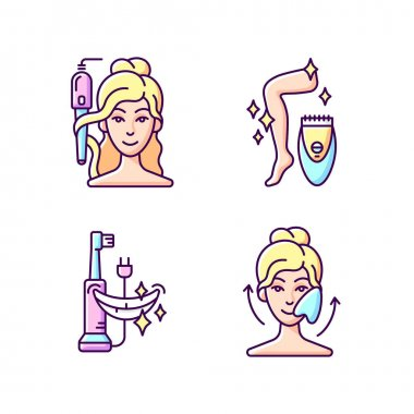 Skin-care tools RGB color icons set. Curling iron. Epilator. Electric toothbrush. Gua sha stone. Hair tong. Removing unwanted hair from skin. Reducing puffiness. Isolated vector illustrations icon