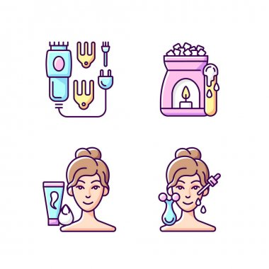 Beauty care appliances RGB color icons set. Electric hair clippers. Wax warmer. Makeup sponge. Microcurrent massager. Hair trimmer. Optimal application temperature. Isolated vector illustrations icon