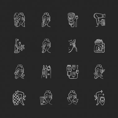 Beauty gadgets chalk white icons set on black background. Hair tong. Electric shaver. Manicure and pedicure. Facial cleansing device. Makeup sponge. Isolated vector chalkboard illustrations icon