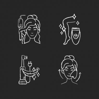 Skin-care tools chalk white icons set on black background. Curling iron. Epilator. Electric toothbrush. Gua sha stone. Hair tong. Removing unwanted hair. Isolated vector chalkboard illustrations icon