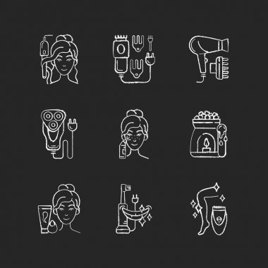 Skincare routine chalk white icons set on black background. Hairstyling appliance. Electric hair clippers. Blackhead remover. Shaver. Makeup sponge. Isolated vector chalkboard illustrations icon