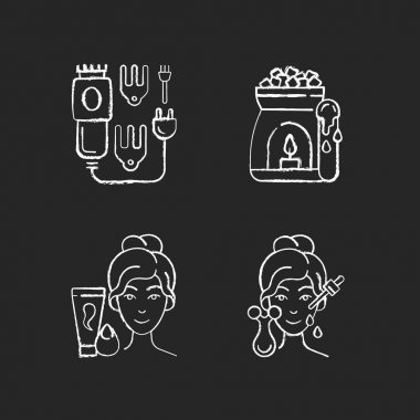 Beauty care appliances chalk white icons set on black background. Electric hair clippers. Wax warmer. Makeup sponge. Microcurrent massager. Hair trimmer. Isolated vector chalkboard illustrations icon