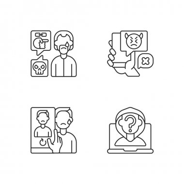 Cyberbullying and discrimination linear icons set. Racial bullying. Anonymous stalker, doxing. Customizable thin line contour symbols. Isolated vector outline illustrations. Editable stroke icon