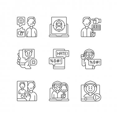 Online harassment and bullying linear icons set. Weight-base cyberbullying and bodyshaming. Customizable thin line contour symbols. Isolated vector outline illustrations. Editable stroke icon