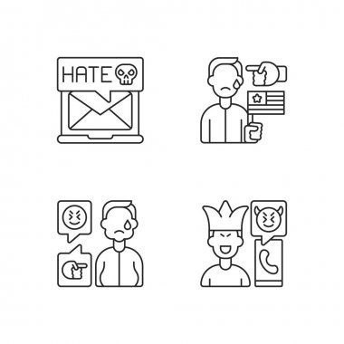 Offensive comments online linear icons set. Email cyberbullying. Political discrimination. Bodyshaming. Customizable thin line contour symbols. Isolated vector outline illustrations. Editable stroke icon