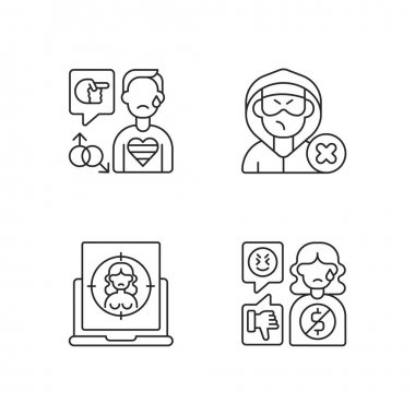 Cyber bullying linear icons set. Block or mute harasser. Ban internet troll. Online sexual harassment. Customizable thin line contour symbols. Isolated vector outline illustrations. Editable stroke icon