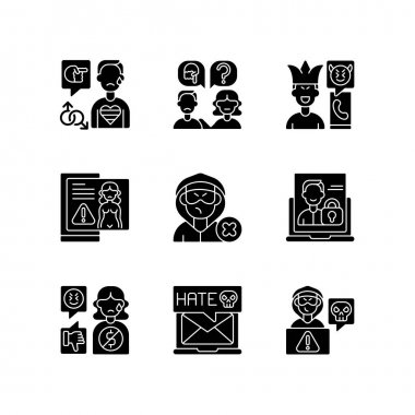Social media bullying black glyph icons set on white space. LGBT cyberbullying. Talk to someone. Help for abuse victim. Mute troll. Silhouette symbols. Vector isolated illustration icon