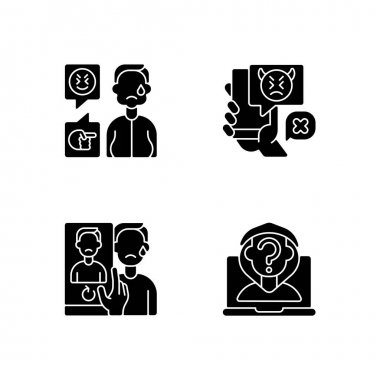 Cyberbullying and discrimination black glyph icons set on white space. Weight-based bullying. Bodyshaming overweight person. Social media harassment. Silhouette symbols. Vector isolated illustration icon