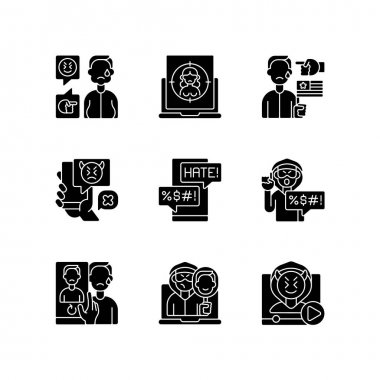 Online harassment and bullying black glyph icons set on white space. Weight-base cyberbullying and bodyshaming. Internet sexual harassment. Silhouette symbols. Vector isolated illustration icon