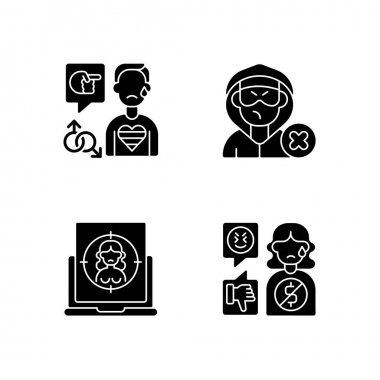 Cyber bullying black glyph icons set on white space. Block or mute harasser. Ban internet troll. Online sexual harassment. Offensive comment. Silhouette symbols. Vector isolated illustration icon