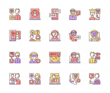 Cyberbullying RGB color icons set. Online harassment. Social media hate comments. Offensive e-mail. Prank phone call. Political, LGBT, financial discrimination. Isolated vector illustrations icon