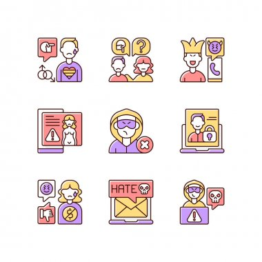 Social media bullying RGB color icons set. LGBT cyberbullying. Talk to someone. Help for abuse victim. Prank phone call. Revenge porn. Ban harasser. Mute troll. Isolated vector illustrations icon