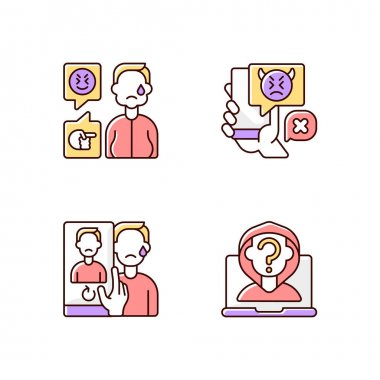 Cyberbullying and discrimination RGB color icons set. Weight-based bullying. Bodyshaming overweight person. Social media harassment. Doxing, anonymous troll. Isolated vector illustrations icon