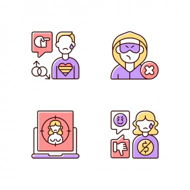 Cyber bullying RGB color icons set. Block or mute harasser. Ban internet troll. Online sexual harassment. Offensive comment. Financial bullying. LGBT cyberbullying. Isolated vector illustrations icon