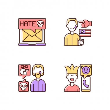 Offensive comments online RGB color icons set. Email cyberbullying. Political discrimination. Racial bullying. Phone call prank. Victim of emotional abuse. Isolated vector illustrations icon