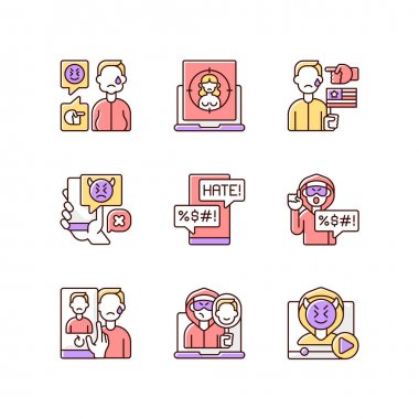 Online harassment and bullying RGB color icons set. Weight-base cyberbullying and bodyshaming. Internet sexual harassment. Political discrimination. Hate comment. Isolated vector illustrations icon