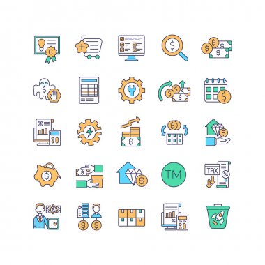 Asset management RGB color icons set. Intellectual property law. Buying business assets. Finance management. Increasing revenue in business. Investment in property. Isolated vector illustrations icon