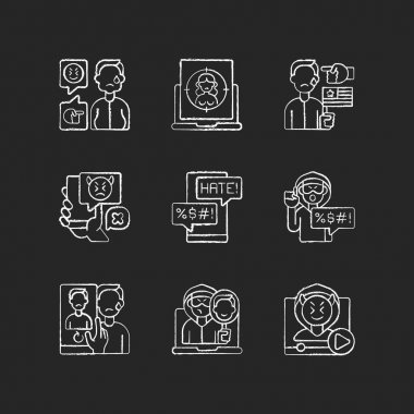 Online harassment and bullying chalk white icons set on black background. Weight-base cyberbullying and bodyshaming. Internet sexual harassment. Isolated vector chalkboard illustrations icon