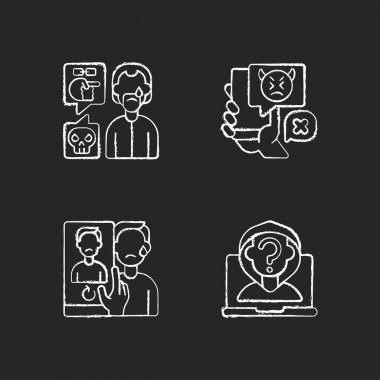 Cyberbullying and discrimination chalk white icons set on black background. Racial bullying. Bodyshaming overweight person. Social media harassment. Isolated vector chalkboard illustrations icon