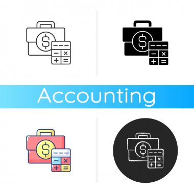 Business account icon. Track cash balance and transactions made by company during specific period. Money owned by person. Linear black and RGB color styles. Isolated vector illustrations icon