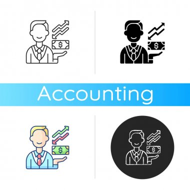 Equity icon. Ownership of assets that may have debts or liabilities attached to them. Different methods used for accounting. Linear black and RGB color styles. Isolated vector illustrations icon