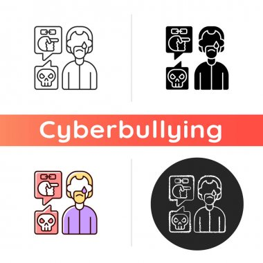 Racial cyberbullying icon. Discrimination by ethnicity. Negative comment towards upset person. Cyberharassment and victim blaming. Linear black and RGB color styles. Isolated vector illustrations icon
