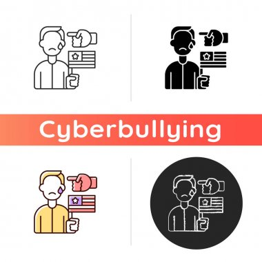 Political cyberbullying icon. Offensive comment. Victim of discrimination. Shaming for politics. Cyberharassment and online hate. Linear black and RGB color styles. Isolated vector illustrations icon